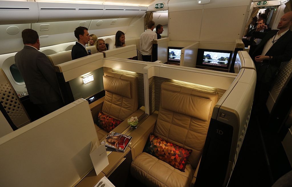 first class section on the Etihad Airways Boeing B787