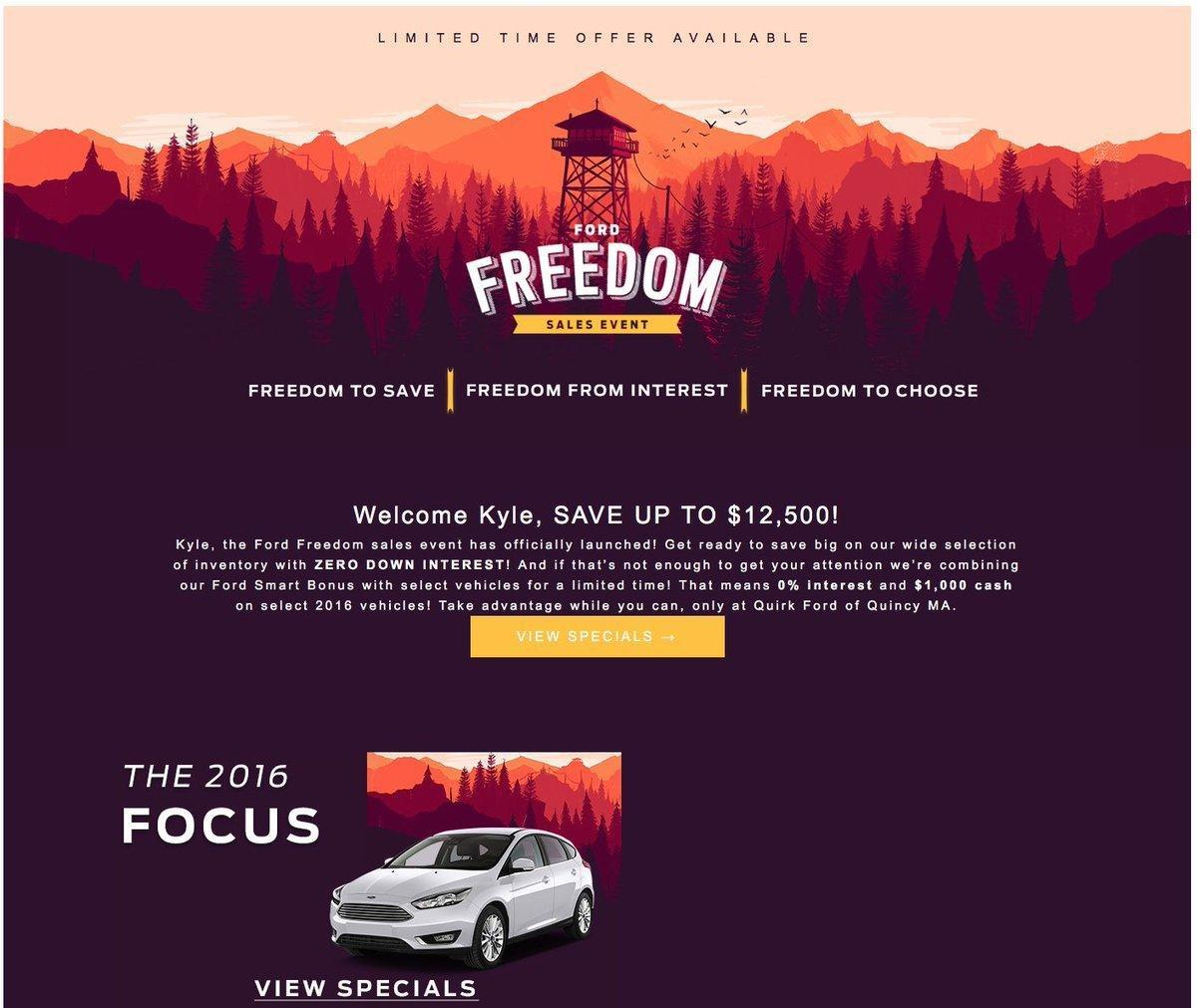 An ad from a Ford dealership with art from Firewatch.