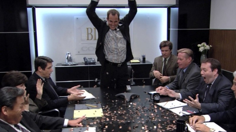 GOB, from 'Arrested Development, shows Bluth Co. board members how to make money