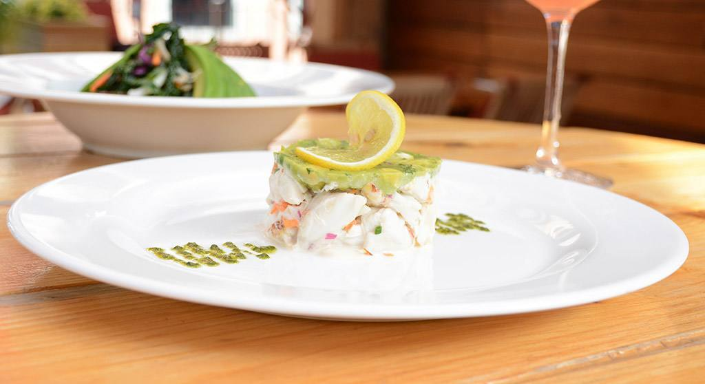 Crab and avocado appetizer at Haven Rooftop