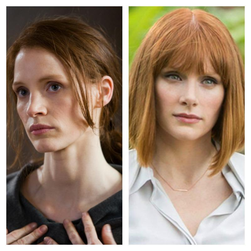 On the left is a picture of Jessica Chastain from Zero Dark Thirty. On the right is a picture of Bryce Dallas Howard in Jurassic World.