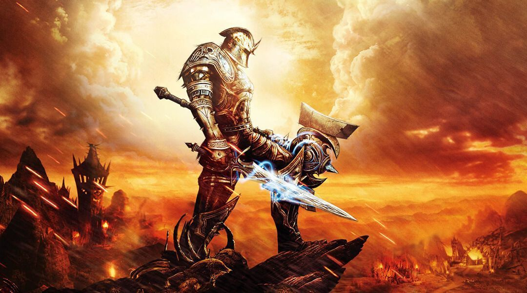A knight stands in front of an orange sky.