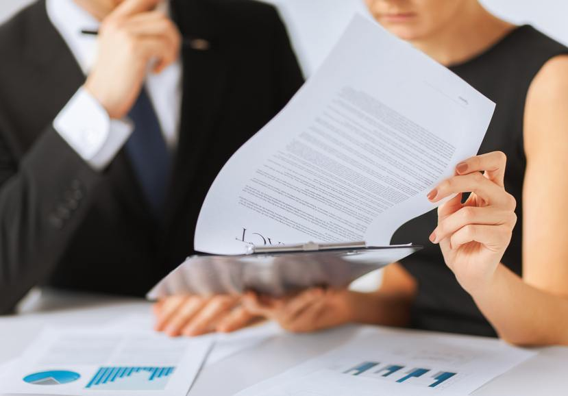job offer, business people with contract document