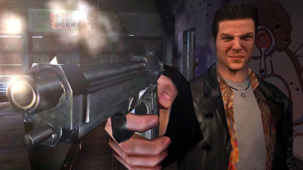 Max Payne shoots a pistol.