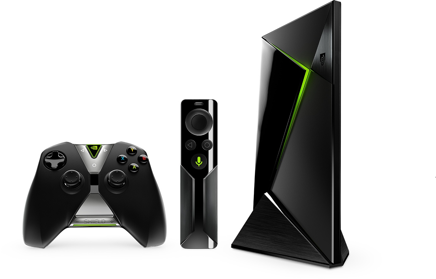 NVIDIA Shield Android TV, with controller and remote.