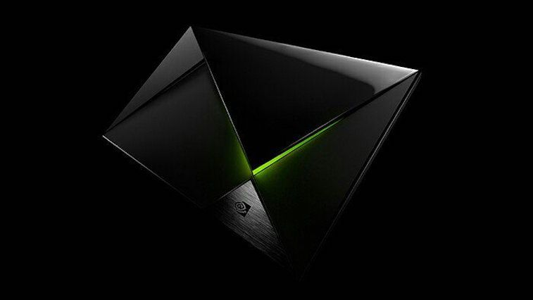 The NVIDIA Shield on a black background.