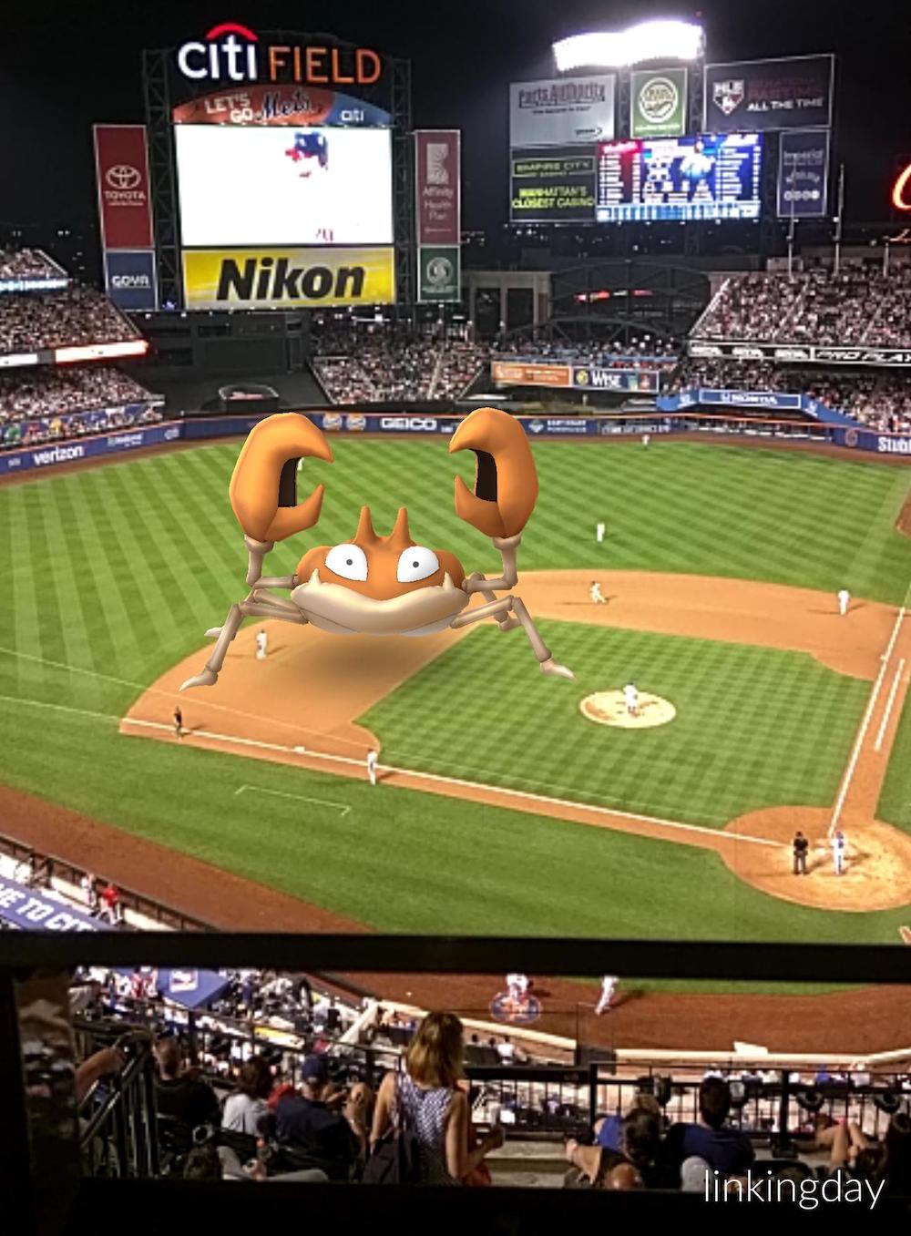 Pokemon GO on a baseball field