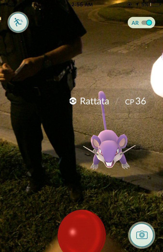 Playing Pokemon GO while talking to a police officer.