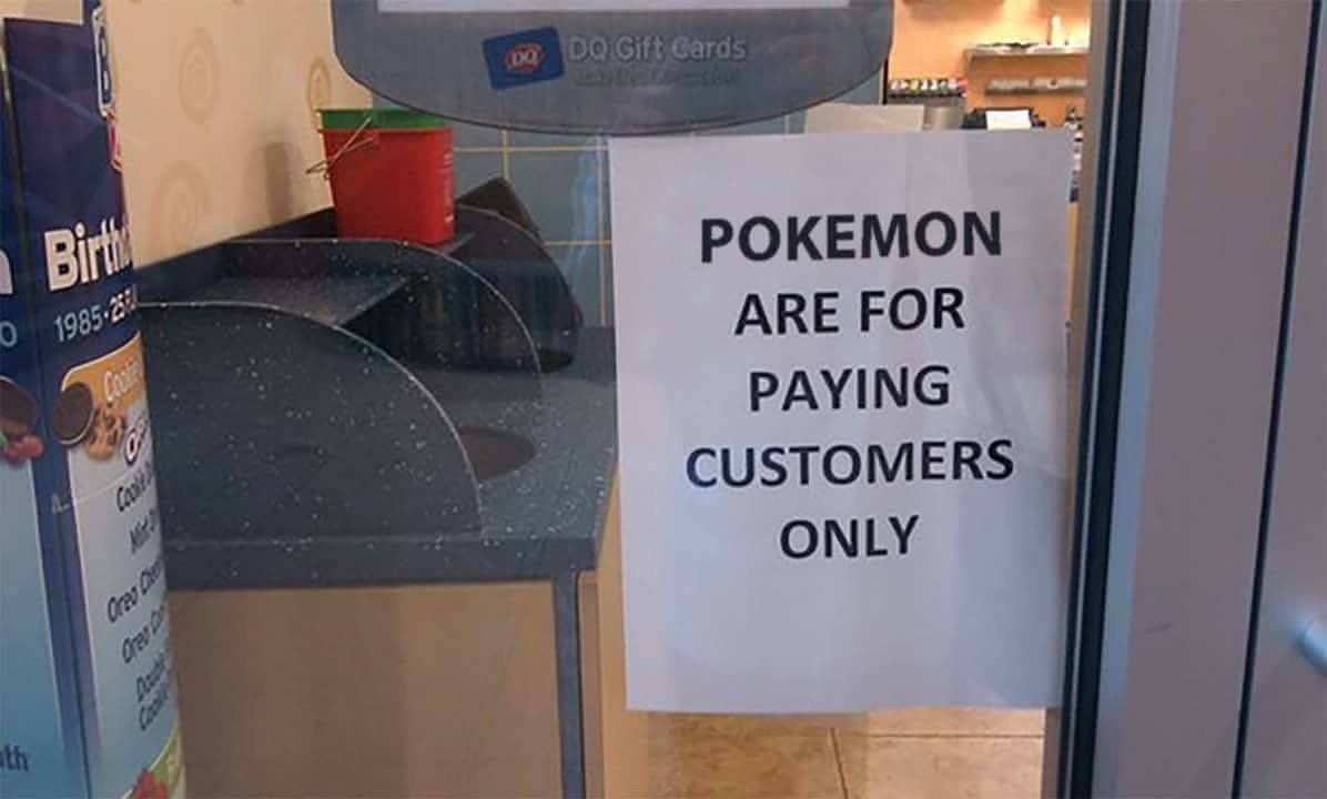 A Dairy Queen put up a sign to ward off non-paying Pokemon GO players.