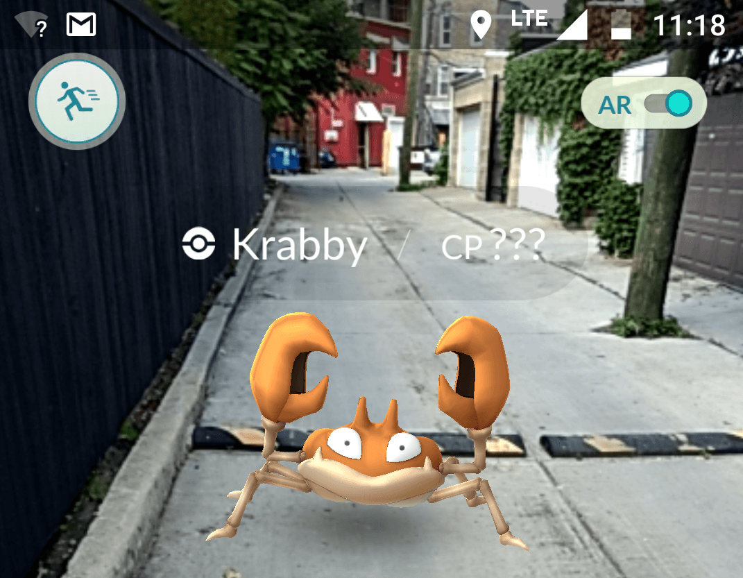Pokémon GO Krabby in an alley
