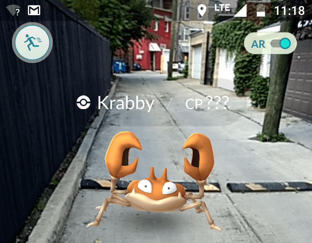 Pokémon GO Krabby in an alley