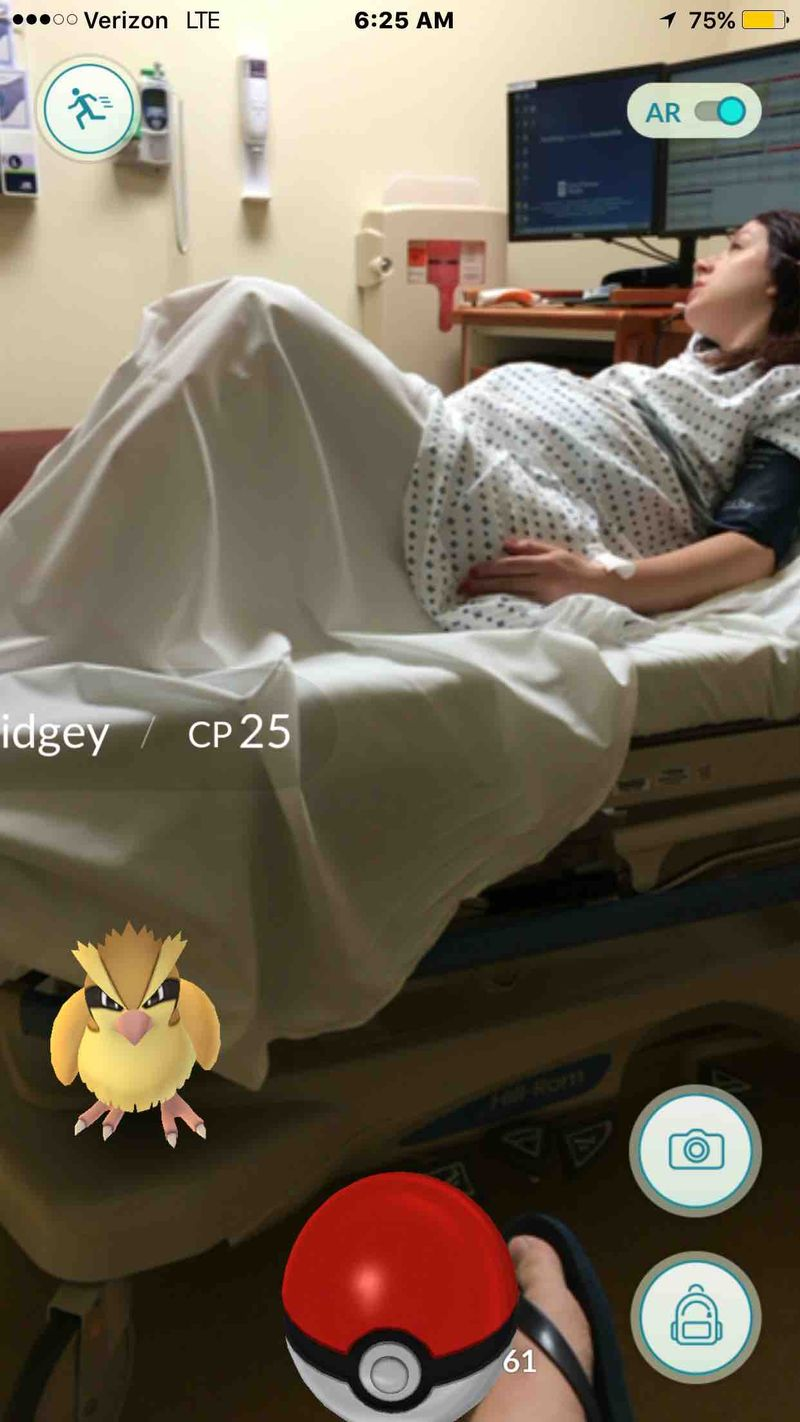 A man plays Pokemon GO while his wife is in labor at the hospital.