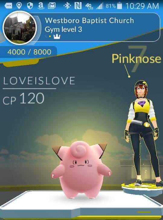 Westboro Baptist Church as a Pokemon Gym