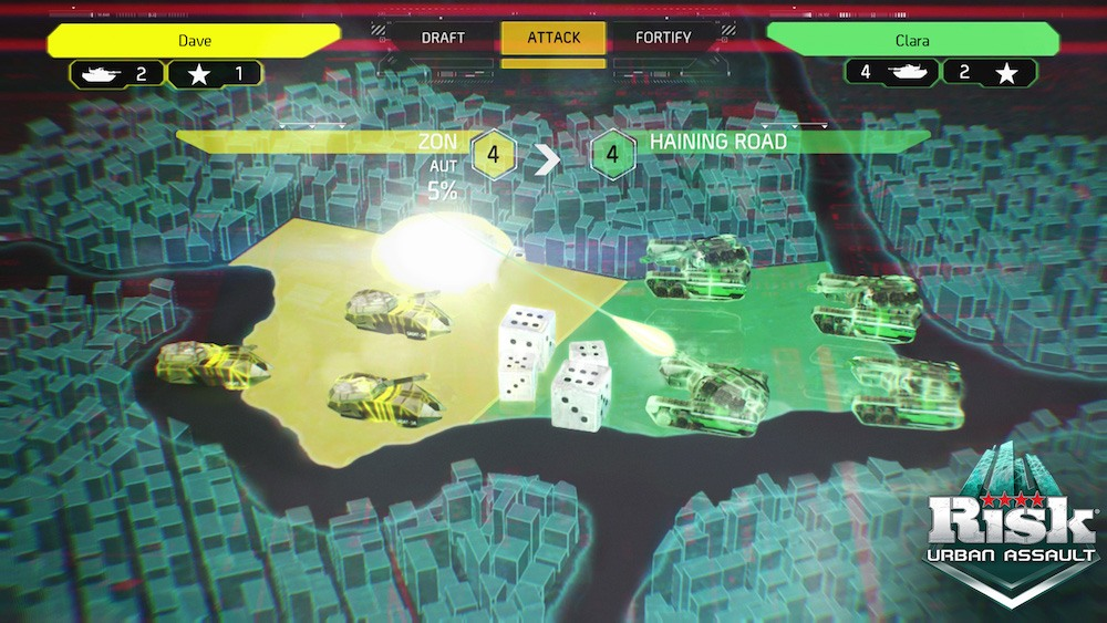 A city at war in this board game-based video game.