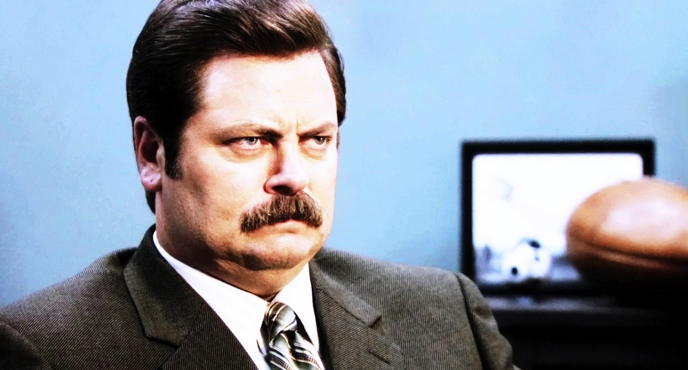 """The boss"" and eternal face of management, Ron Swanson from Parks and Recreation"