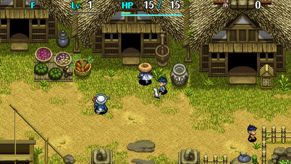 A warrior in a village preparing to go into a dungeon.