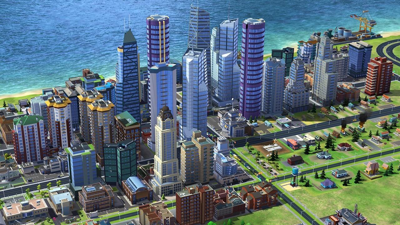 A city skyline in 'SimCity 4'