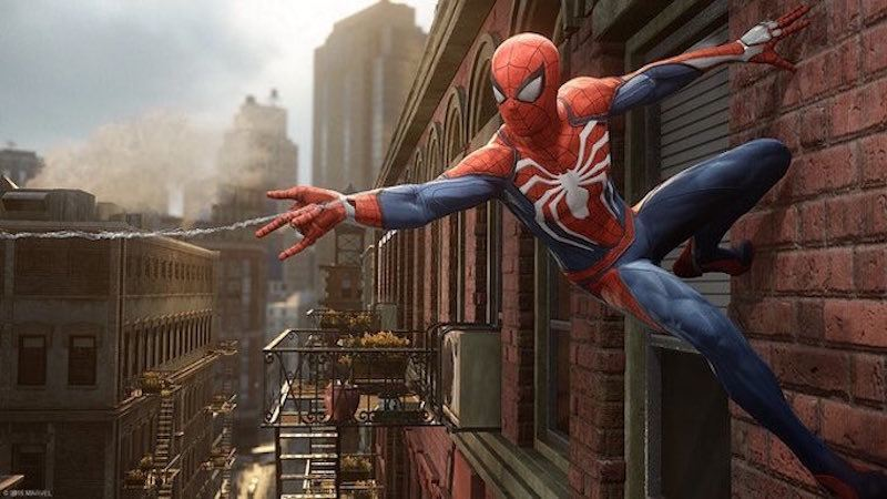 Spider-Man slings a web in his PS4 game.