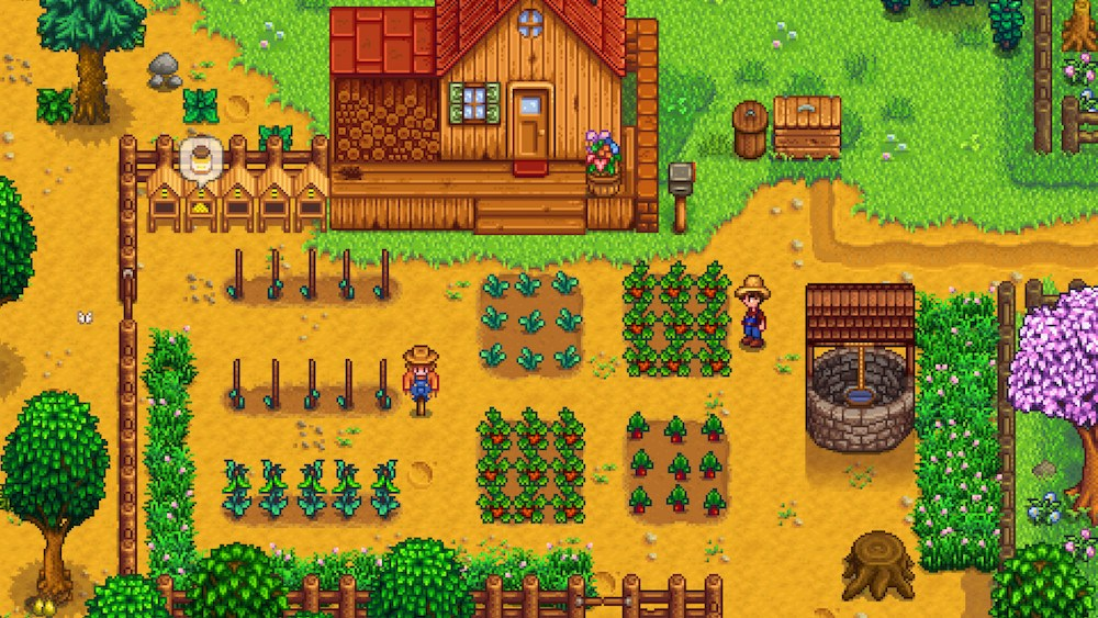A pixelated farm is up and running.