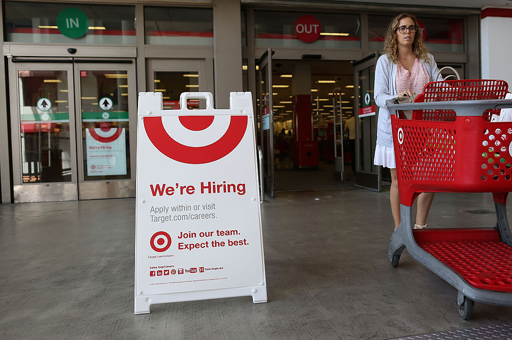 A sign is seen outside a Target store