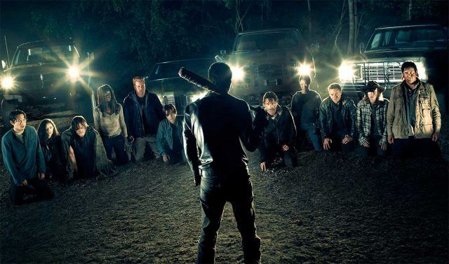 Negan stands in front of his potential victims in a scene from Season 7 of AMC's 'The Walking Dead'