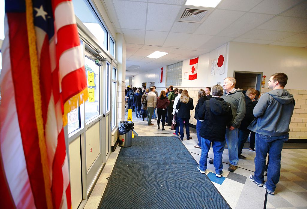 PROVO, UT - MARCH 22: Voters line up to attend the Utah republican caucuses at Wasatch Elementary on March 22, 2016 in Provo, Utah. The Republicans have 40 delegates and Democrats 37 delegates at stake in Utah. (Photo by George Frey/Getty Images)