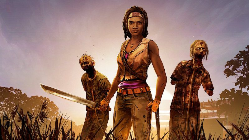Michonne with two zombies.