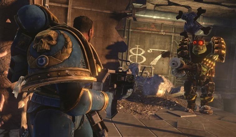 A space marine fights in a sci-fi battle.