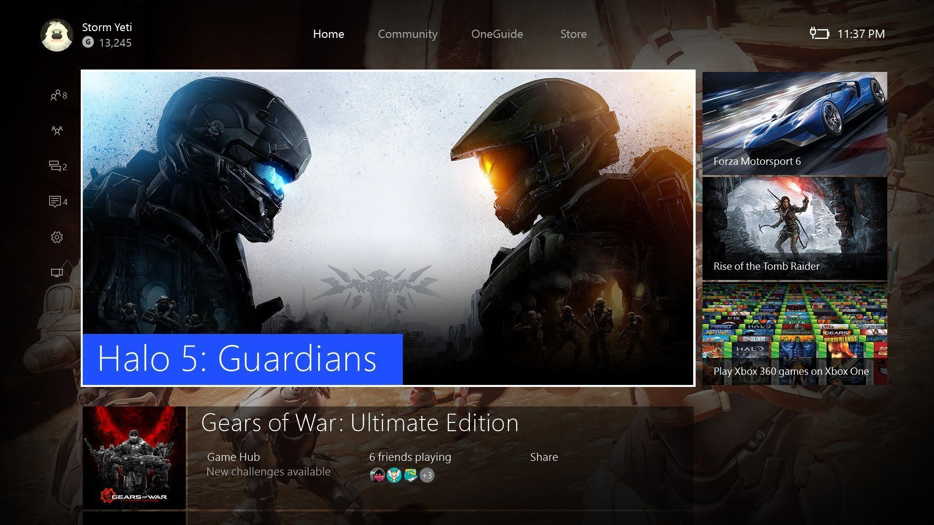 Xbox One dashboard.