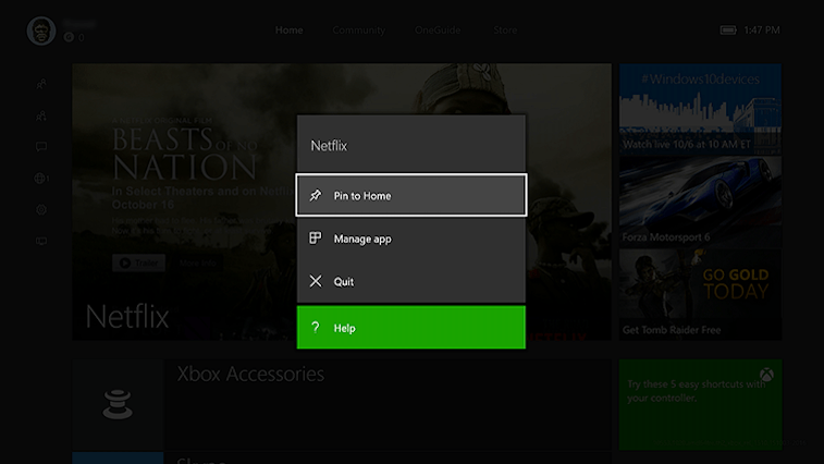 Xbox One pinning an app.