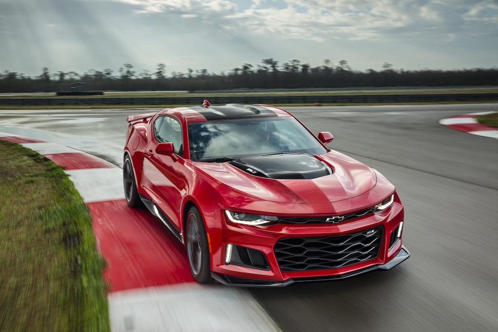 This red 2017 Chevrolet Camaro ZL1 can reach a top speed of 195 miles per hour