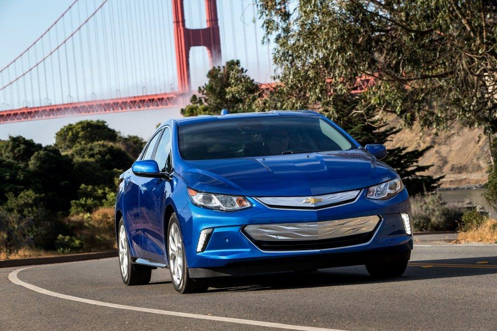 The 2017 chevrolet volt with Golden Gate Bridge in background