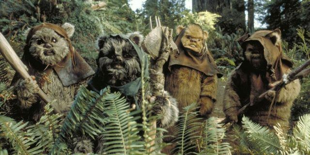 A group of Ewoks standing in a forest.