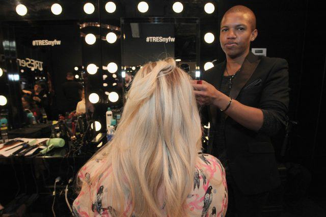 NEW YORK, NY - FEBRUARY 13: A guest had their hair styled at the TRESemme Salon at Moynihan Station on February 13, 2016 in New York City.