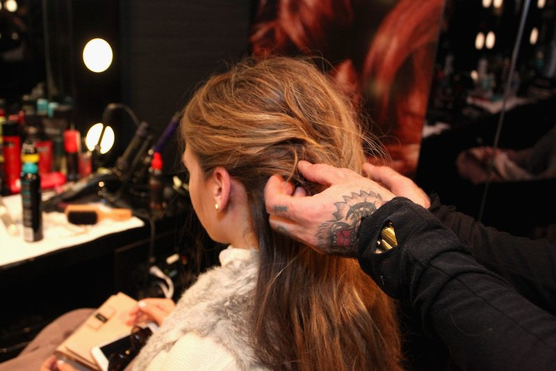 A guest had their hair styled at the TRESemme Salon at Moynihan Station on February 13, 2016 in New York City.