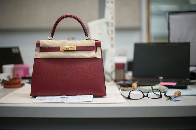 A Hermes bag is pictured in the Hermes workshop on the eve of the inauguration day
