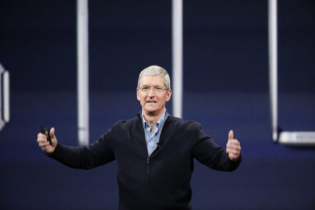 SAN FRANCISCO, CA - MARCH 9: Apple CEO Tim Cook gestures on stage during an Apple special event at the Yerba Buena Center for the Arts on March 9, 2015 in San Francisco, California. Apple Inc. announced the new MacBook as well as more details on the much anticipated Apple Watch, the tech giant's entry into the rapidly growing wearable technology segment as well
