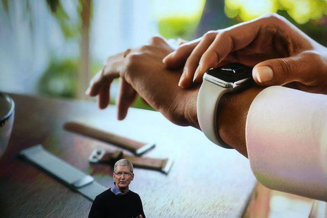 CUPERTINO, CA - MARCH 21: Apple CEO Tim Cook speaks about the Apple Watch during an Apple special event at the Apple headquarters on March 21, 2016 in Cupertino, California. The company is expected to update its iPhone and iPad lines, and introduce new bands for the Apple Watch.