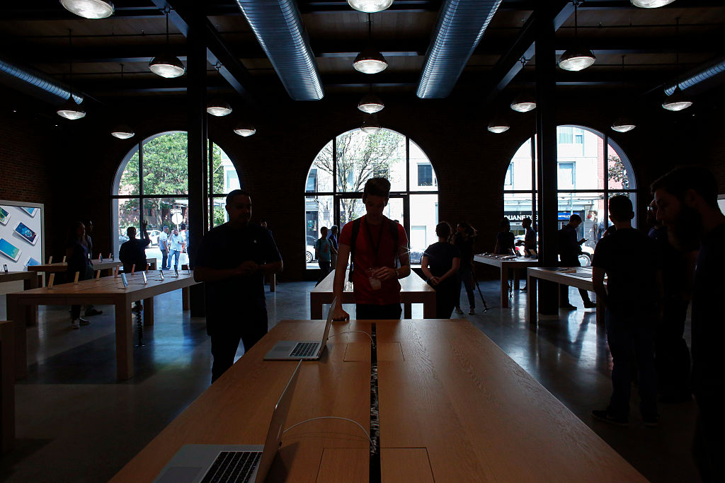 Members of the media visit the new Brooklyn Apple Store