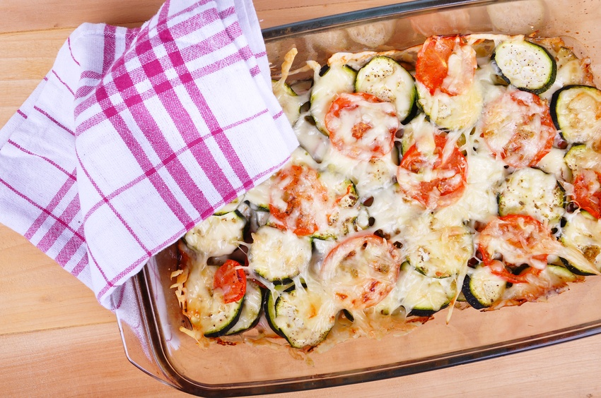 Tomatoes and zucchini baked with cheese