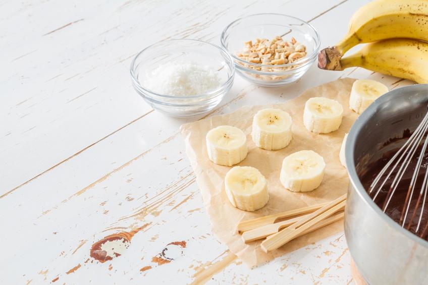 banana, chocolate, nuts, coconut powder