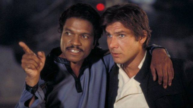 Billy Dee Williams and Harrison Ford in 'The Empire Strikes Back'.