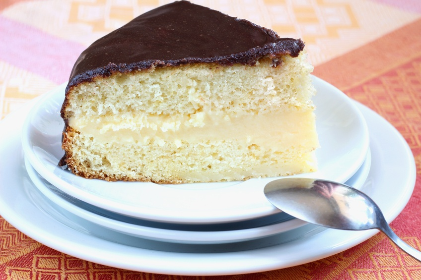 Boston Cream Pie with silver spoon