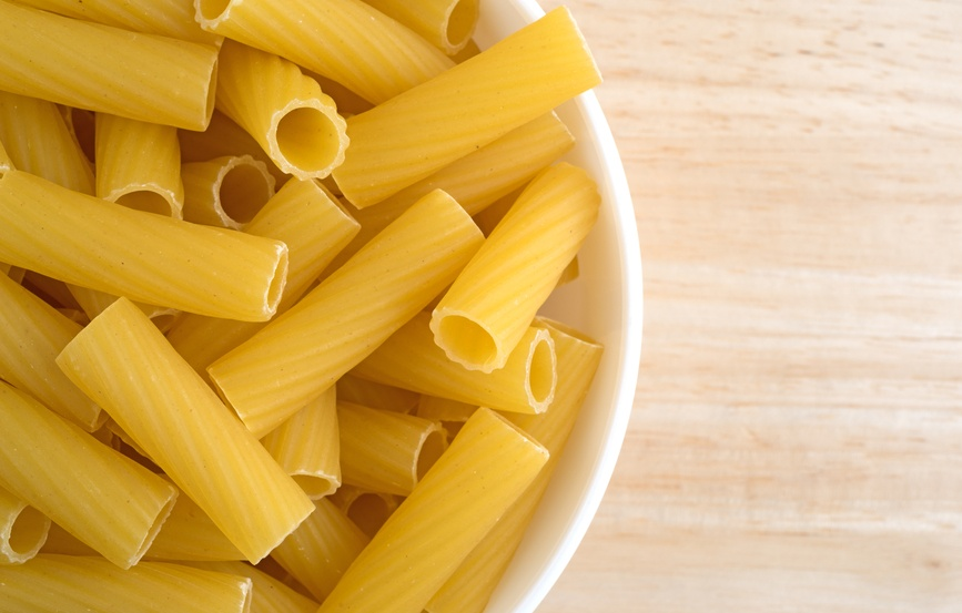 Bowl filled with rigatoni pasta