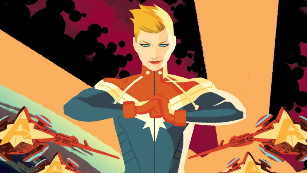 Captain Marvel holds her fist to the palm of her other hand in Marvel Comics