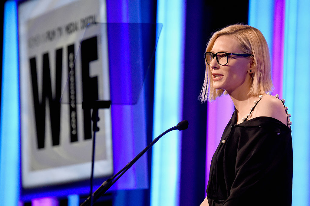 Actress Cate Blanchett speaks onstage at the Women In Film 2016 Crystal + Lucy Awards