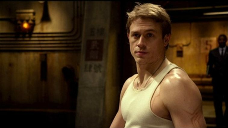 Charlie Hunnam in a white tank top in Pacific Rim