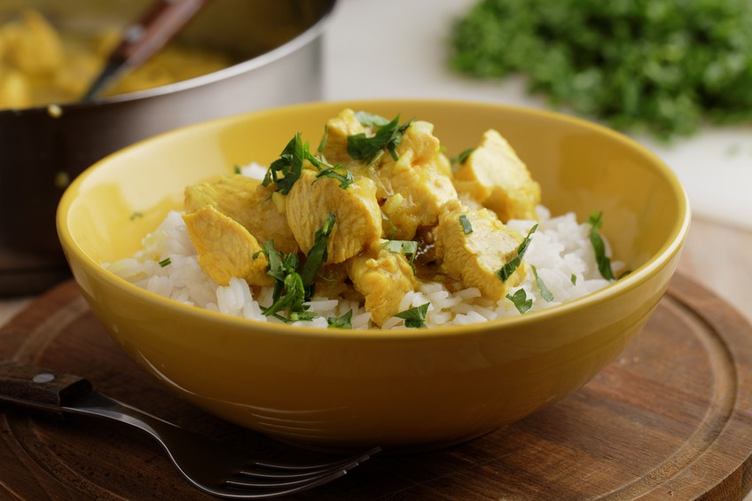 Chicken curry with fork