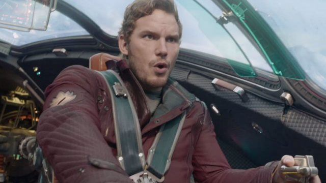 Chris Pratt driving a spaceship in 'Guardians of the Galaxy'.