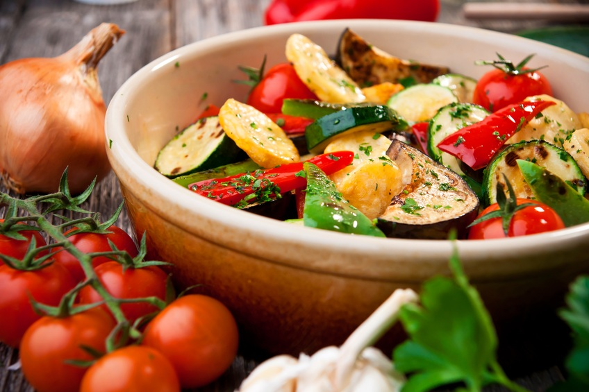 Roasted vegetables in a bowl